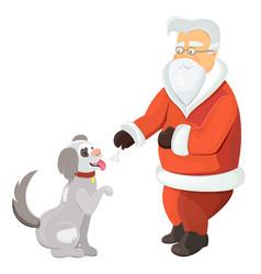 santa claus playing with dog santa with pawing vector image