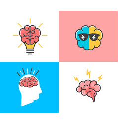 set different states brain vector image