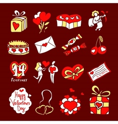 Set of icons for St Valentines Day vector