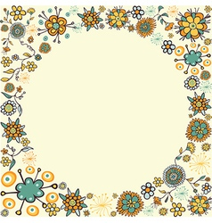 Spring vintage flower circle card background vector image