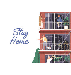 Stay home isolation concept horizontal banner vector