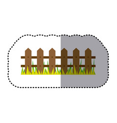 sticker colorful picture wooden fence and grass vector image