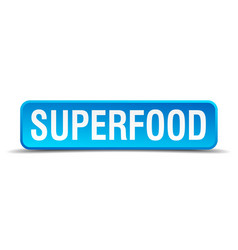 Superfood blue 3d realistic square isolated button vector