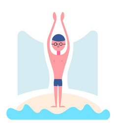 swimmerman swimming glasses white background male vector image