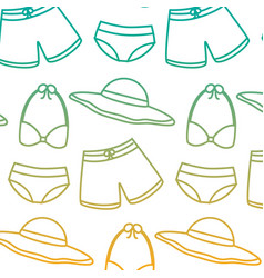 Swimsuits short bikini and hat vacation beach vector