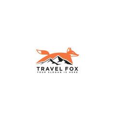 symbol design icon fox mountain logo template vector image