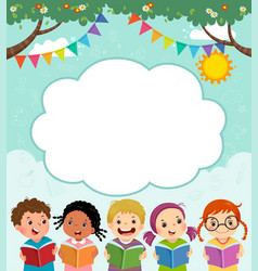 Template with children reading book vector