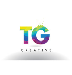 Tg t g colorful letter origami triangles design vector