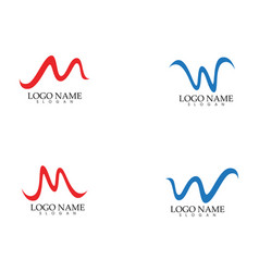 w m letter wave logo template vector image