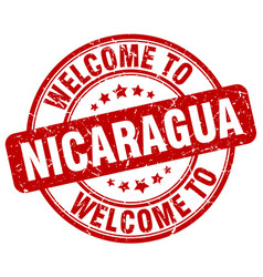 Welcome to nicaragua red round vintage stamp vector