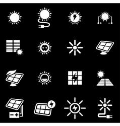 White solar energy icon set vector