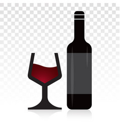 Wine glass with bottle flat icon for apps vector