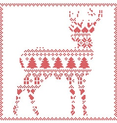 Winter deer on white background vector