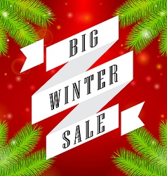 Winter sale big ribbon on red background vector image