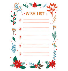 Xmas wish list flat want list vector