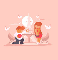 young guy proposes to marry girlfriend vector image