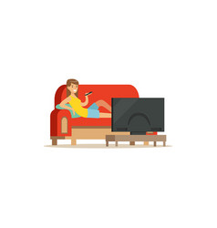 Young woman sitting on a sofa in a living room and vector