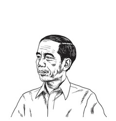 jokowi joko widodo portrait drawing vector image vector image