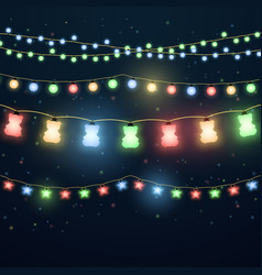 set of colorful light garlands vector image