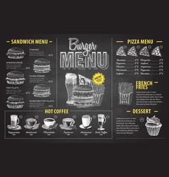 vintage chalk drawing burger menu design fast vector image vector image