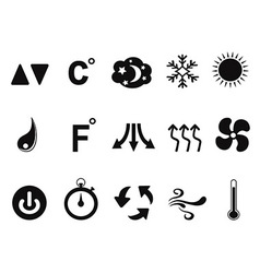 air conditioner icons set vector image vector image