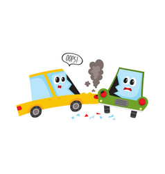 flat cartoon car crash accident isolated vector image vector image