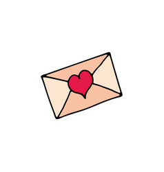 letter with heart cartoon icon vector image vector image