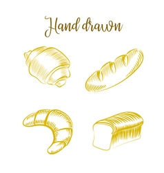 Set of Bakery products hand drawn sketch different vector image