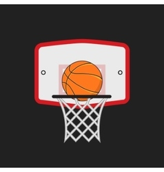 Basketball hoop and orange ball on the dark vector image
