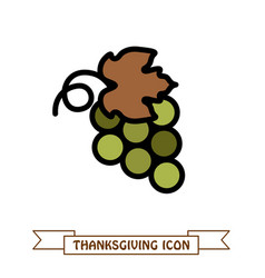 bunch of grapes icon harvest thanksgiving vector image vector image