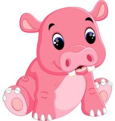 cartoon happy hippo sitting vector image vector image