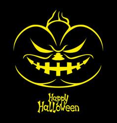 halloween pumpkin on a black background vector image vector image