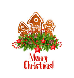 Merry christmas gingerbred greeting icon vector