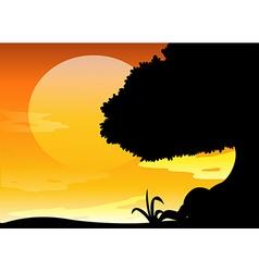 Silhouette scene at sunset vector