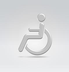 Silver wheelchair person icon vector image vector image