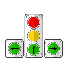 traffic light flat color icon device for vector image