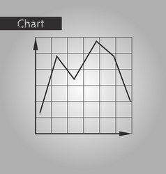 black and white style icon falling graph vector image vector image