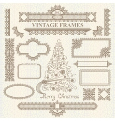 christmas vintage elements set vector image