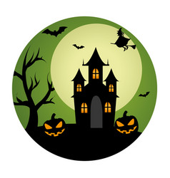 circular landscape of casttle in halloween night vector image vector image