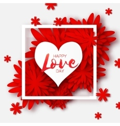 Heart frame Red Flower paper Happy Valentine s vector image vector image