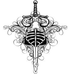 Helmet and sword vector image vector image