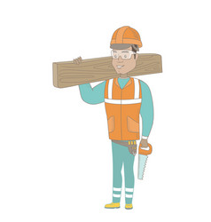 hispanic carpenter holding saw and wooden board vector image