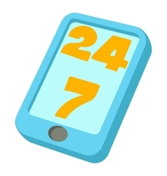 24 hours call center icon cartoon style vector