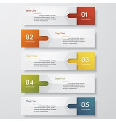 5 steps design clean number banners template vector