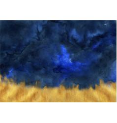 Abstract indigo blue and brush stroke gold waterco vector
