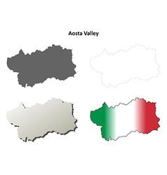 Aosta valley blank outline map set vector