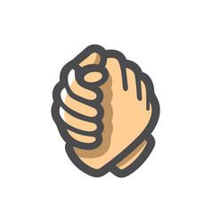Arm wrestling two hands cartoon vector