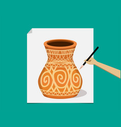 artist painting ancient pottery on paper vector image