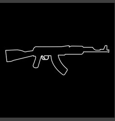 Assault rifle white color path icon vector