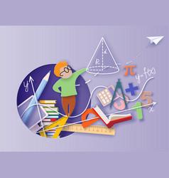 Back to school paper cut cartoon little boy math vector